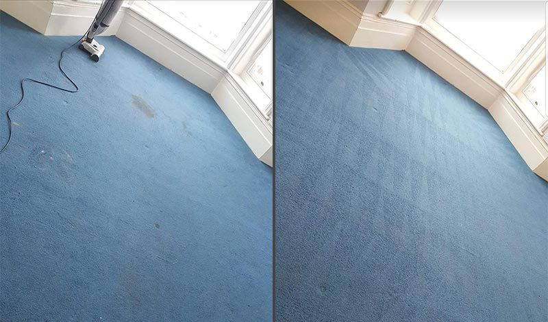 Blue carpet before and after