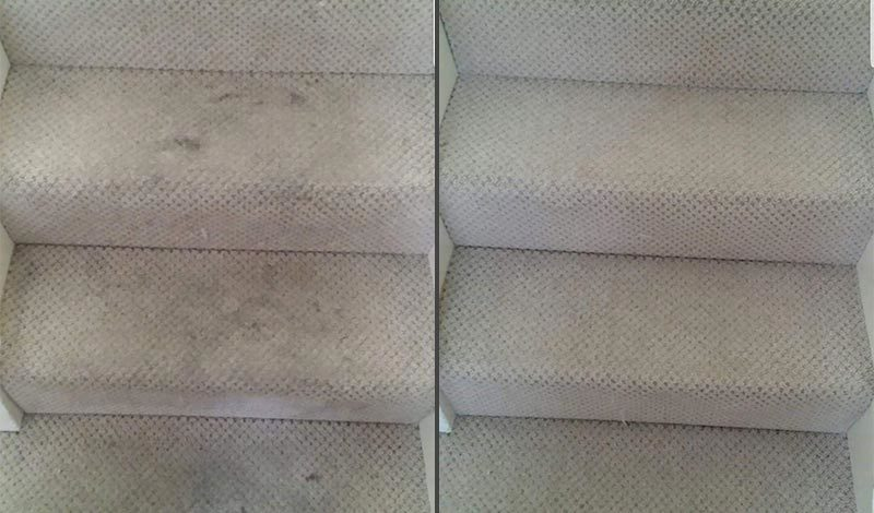 Grey stairs before and after
