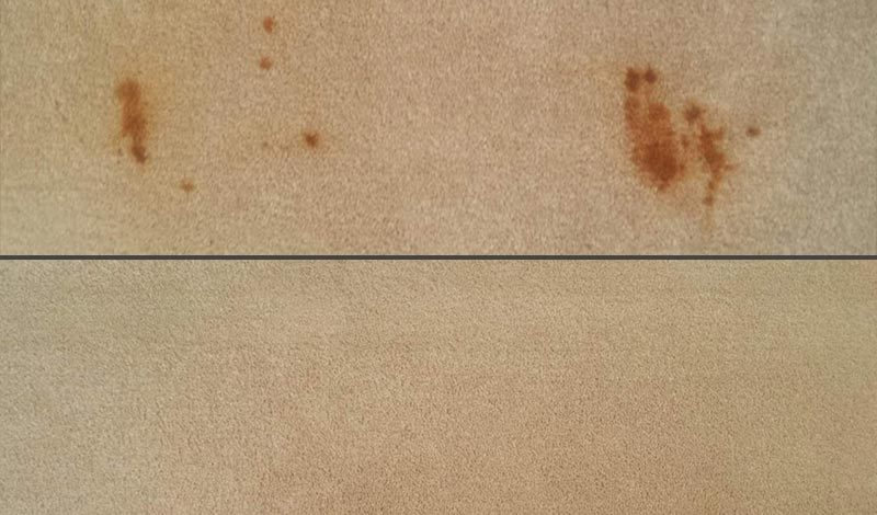 Stain before and after